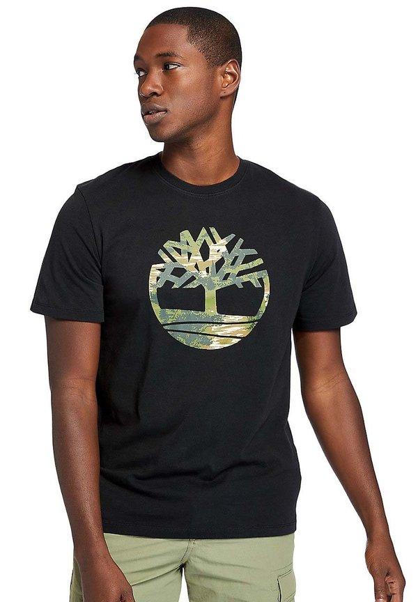 Timberland KENNEBEC - T-shirt z nadrukiem - black/czarny Odzież Męska NAVD