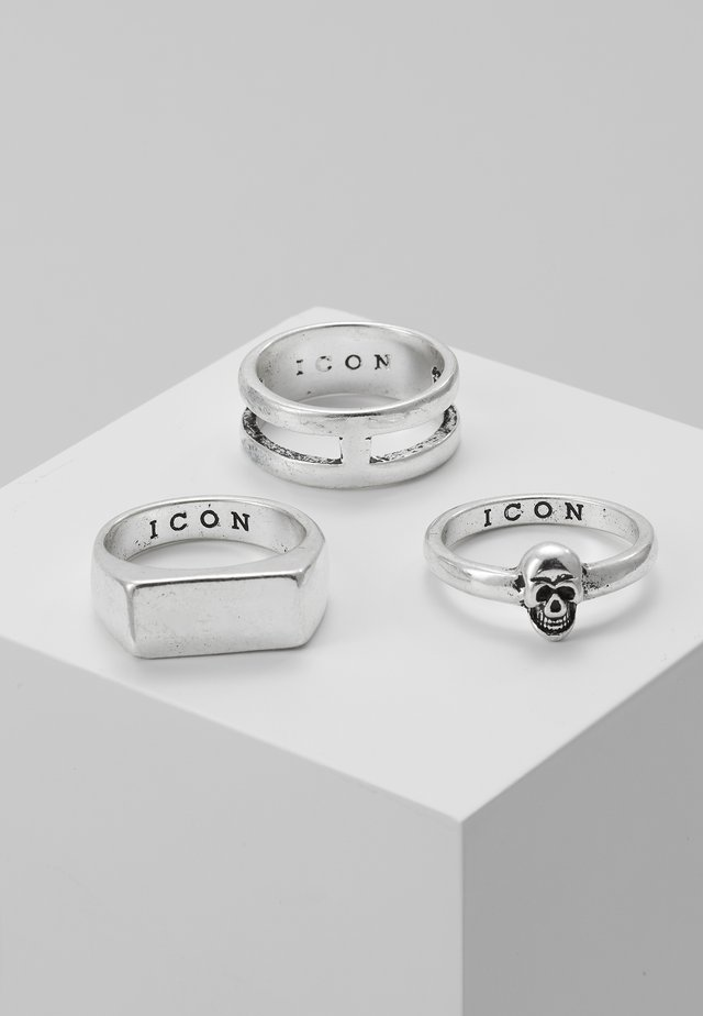 LINEAR RING 3 PACK - Ringe - rhodium