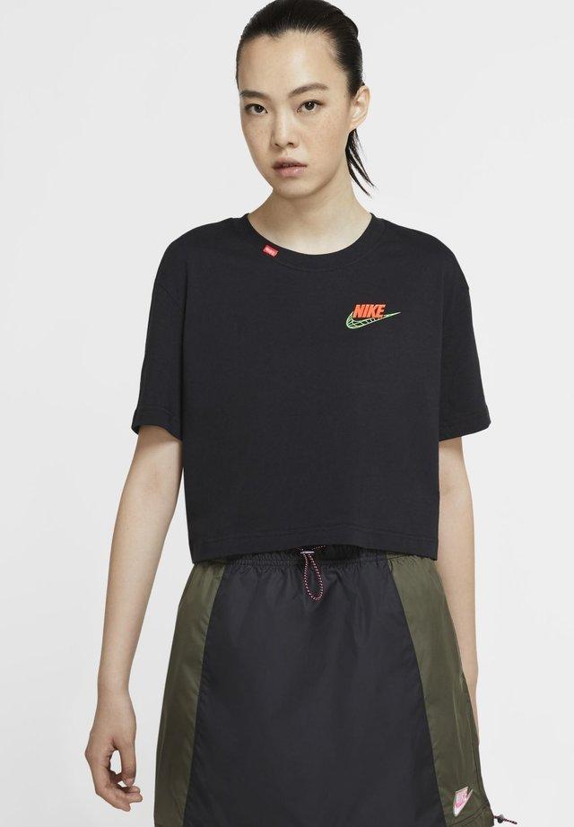 TEE WORLDWIDE CROP - T-shirt imprimé - black