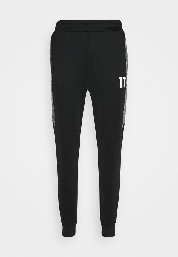 11 DEGREES CUT AND SEW PRINCE OF WALES TRACK PANTS - Spodnie treningowe - black / white/czarny Odzież Męska ZJYU