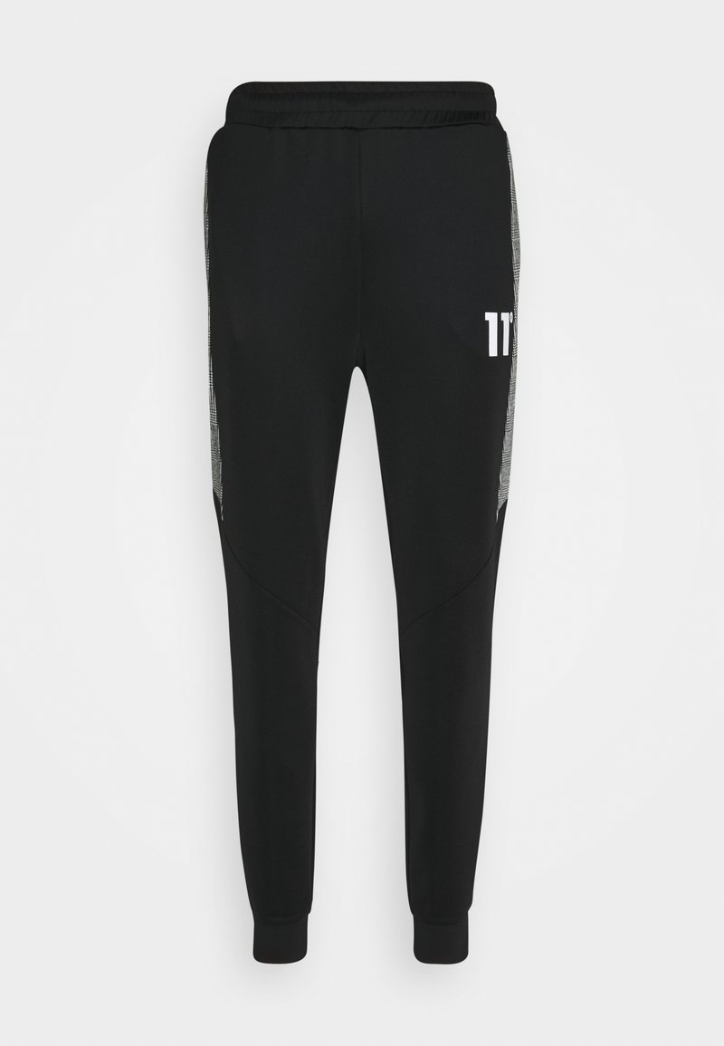 11 DEGREES - CUT AND SEW PRINCE OF WALES TRACK PANTS - Tracksuit bottoms - black / white