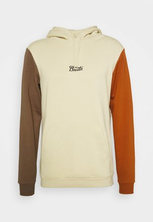 HOOD FLEECE - Hoodie - gravel/dark khaki/amber