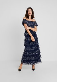 Maya Deluxe - ALL OVER EMBELLISHED TIERED BARDOT MIDAXI DRESS - Occasion wear - navy - 2