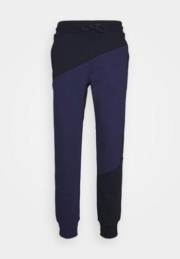 BLOCKED TERRY CUFFED PANT - Pantaloni sportivi - blue