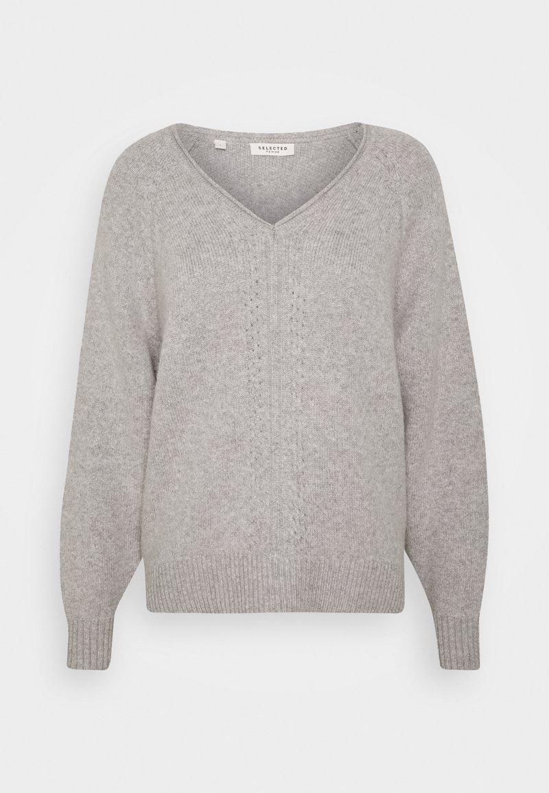 Selected Femme Petite - VNECK - Neule - light grey melange