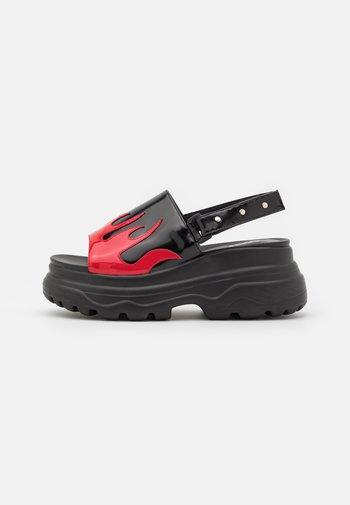 VEGAN EBO FLAME - Platform sandals - black