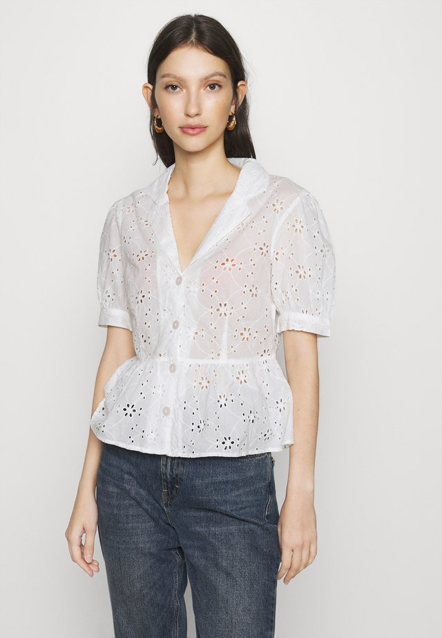 BRODERIE SHORT SLEEVE SHIRT - Blouse - white