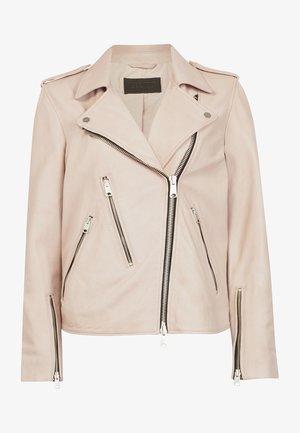 ELVA BIKER - Leather jacket - pink pale
