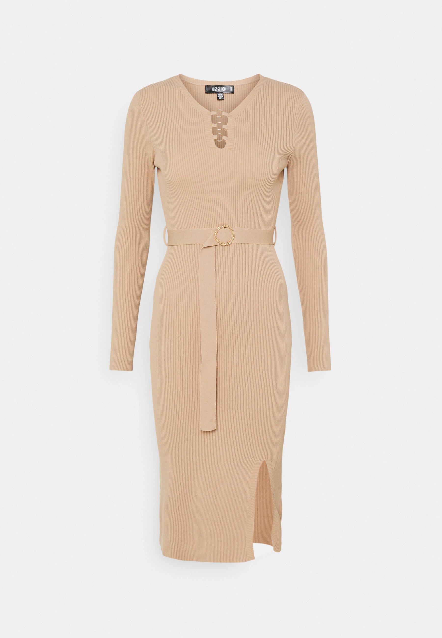 Femme BELTED SIDE SPLIT RING DETAIL DRESS - Robe fourreau