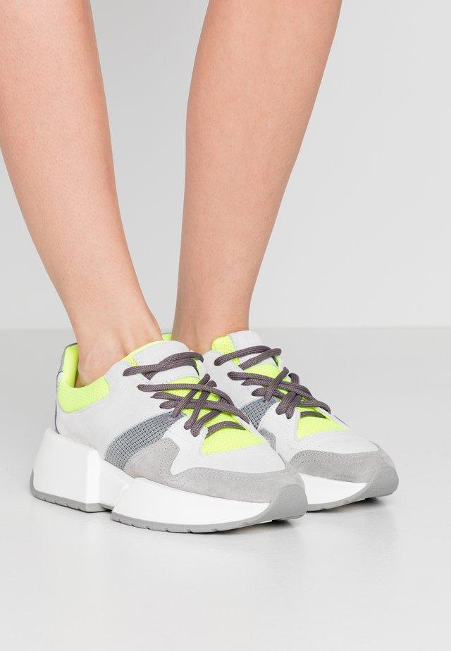 Sneakers basse - ciment/bianco/giallo fluo/grigio medio