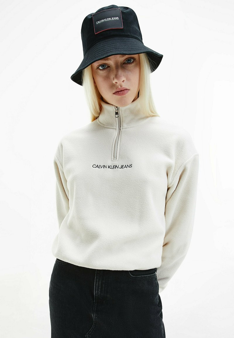 Calvin Klein Jeans - POLAR ZIP NECK  - Fleece jumper - white sand