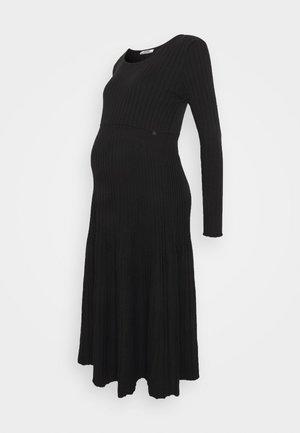 DRESS PLEATED TRICOT - Strikket kjole - black