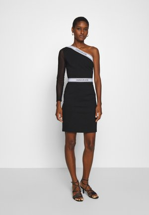 ASYMM MILANO LOGO FITTED DRESS - Shift dress - black