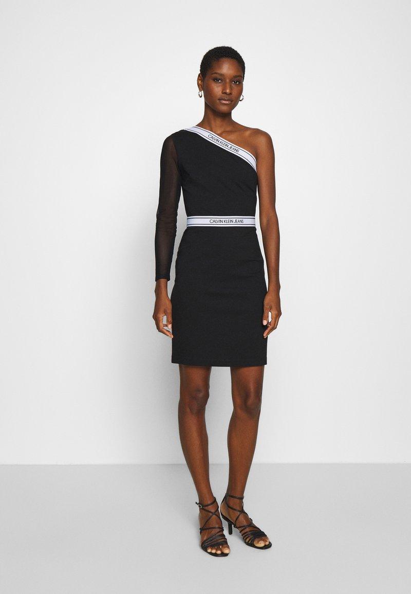 Calvin Klein Jeans - ASYMM MILANO LOGO FITTED DRESS - Shift dress - black