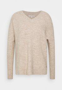 TOM TAILOR DENIM - COSY VNECK - Pullover - beige melange - 0