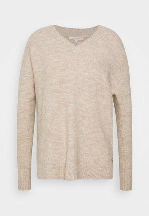 COSY VNECK - Sweter - beige melange
