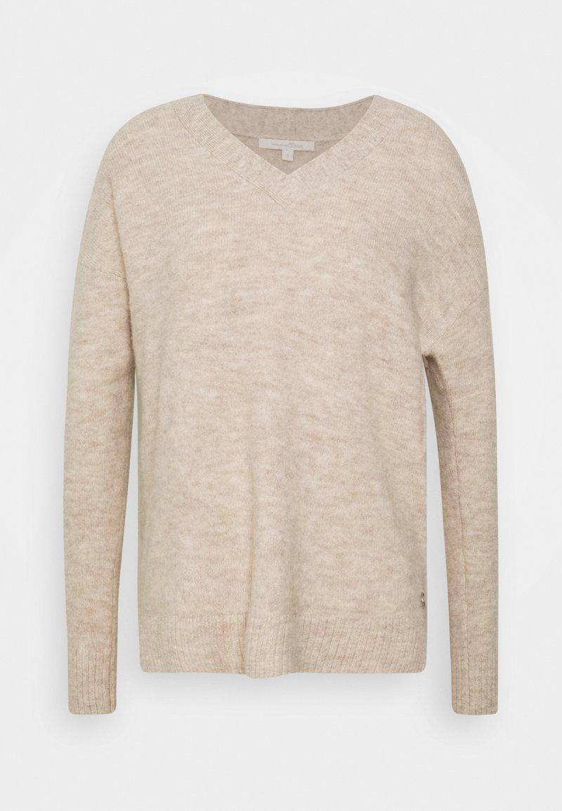 TOM TAILOR DENIM - COSY VNECK - Pullover - beige melange