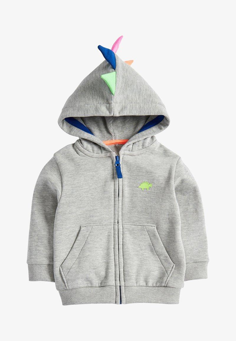 Next - GREY MARL DINO SPIKE ZIP THROUGH HOODY (3MTHS-7YRS) - Zip-up hoodie - grey