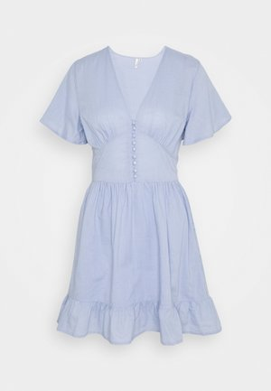 BUTTON UP FRILL DRESS - Day dress - light blue
