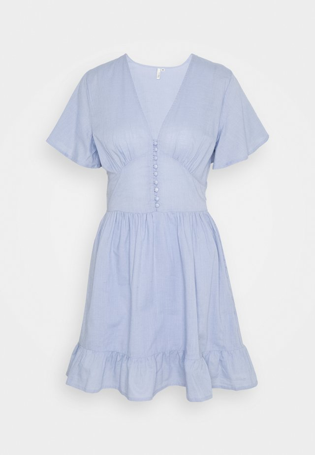 BUTTON UP FRILL DRESS - Kjole - light blue