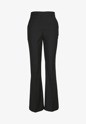 WIDE CUFF PANTS - Spodnie materiałowe - black