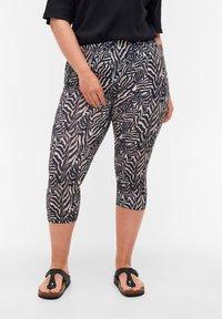 Zizzi - Leggings - Trousers - black zebra aop - 0