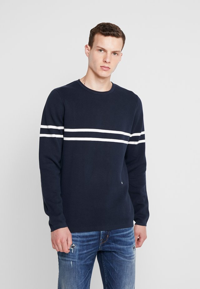 CONTRAST STRIPE JUMPER - Maglione - navy