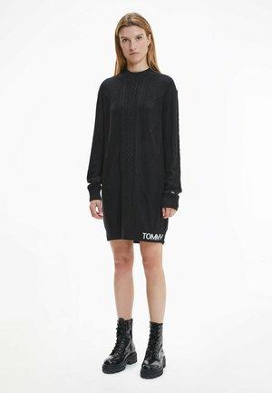 CABLE KNIT SWEATER DRESS - Jumper dress - black