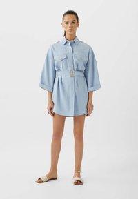 Stradivarius - LANGE LYOCELL - Shirt dress - light blue - 1