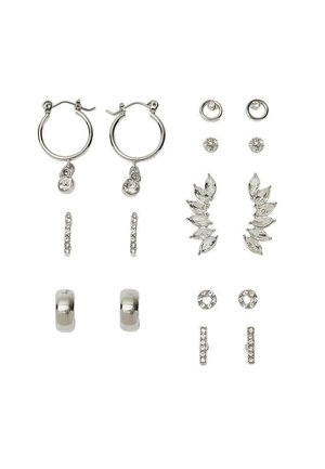 8ER-SET OHRRINGE MIT GLASSTEINCHEN 03028005 - Earrings - grey