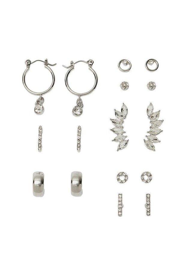 8ER-SET OHRRINGE MIT GLASSTEINCHEN 03028005 - Earrings - grey