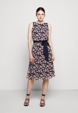 PRINTED GEORGETTE DRESS - Day dress - navy/pink