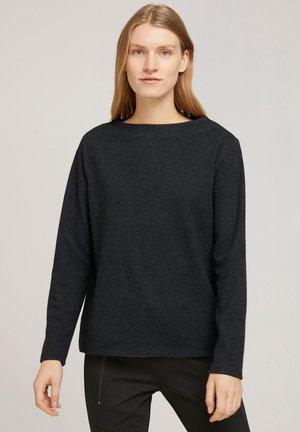 Sweatshirt - grey herringbone fabric