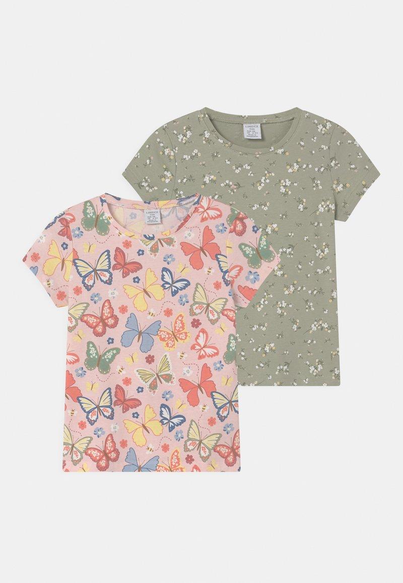 Lindex - MINI 2 PACK - T-shirt print - dusty green
