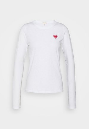 EMBROIDERED HEART LONGSLEEVE - Top s dlouhým rukávem - white