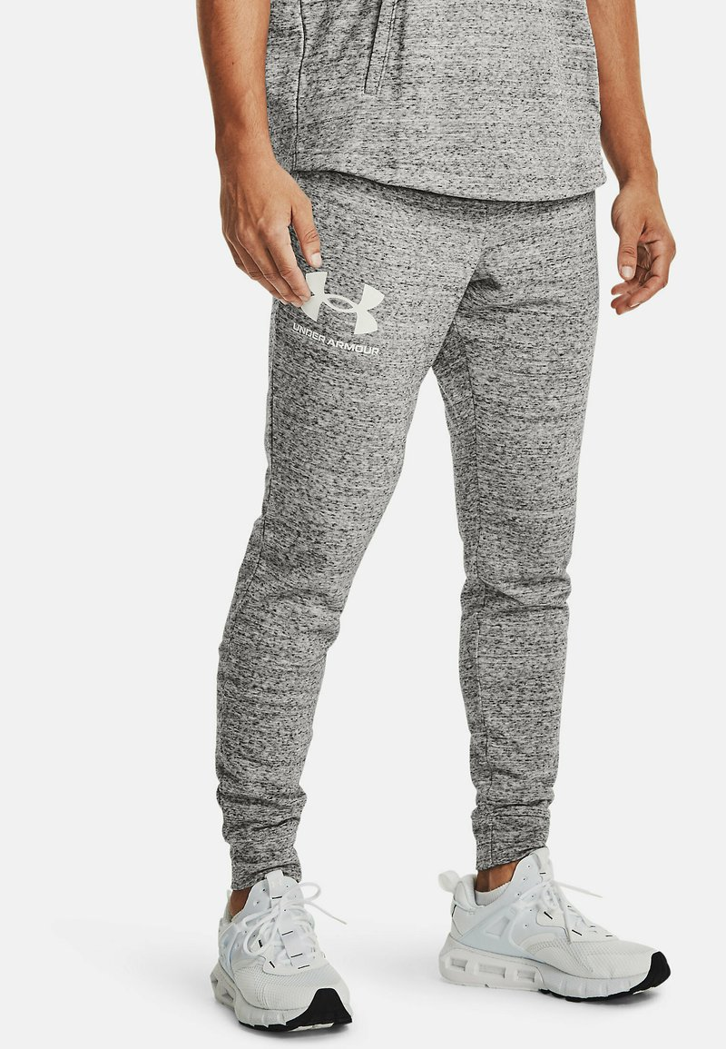 Under Armour - RIVAL TERRY  - Tracksuit bottoms - onyx white