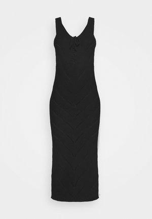 TIE FRONT MIDAXI CROCHET DRESS - Vestido de punto - black