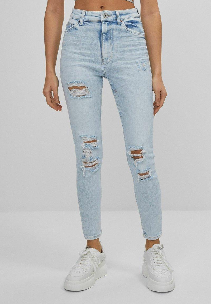 Bershka - SUPER HIGH WAIST - Skinny džíny - blue denim