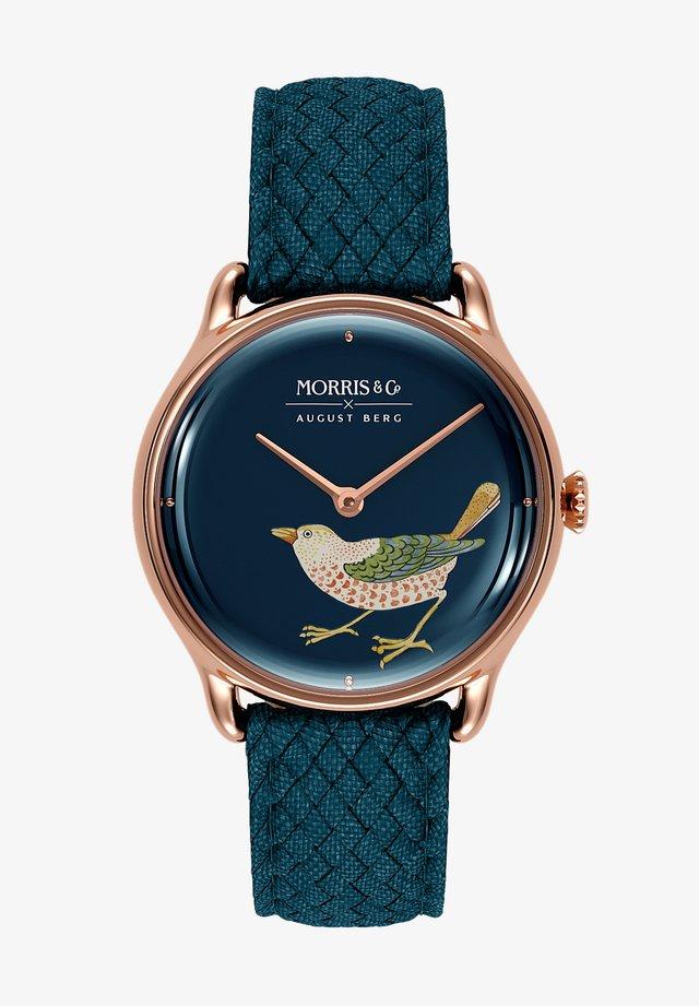 UHR MORRIS & CO ROSE GOLD BIRD INDIGO PERLON 30MM - Horloge - indigo