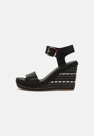 COLORED LACES HIGH WEDGE - Platform sandals - Sandalias de tacón - black