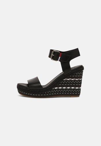COLORED LACES HIGH WEDGE - Platform sandals - Sandály na vysokém podpatku - black
