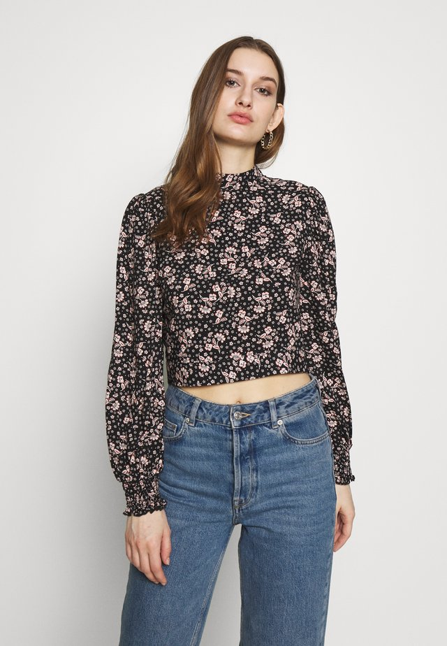 RUCHED PUFF SLEEVE - Blouse - black