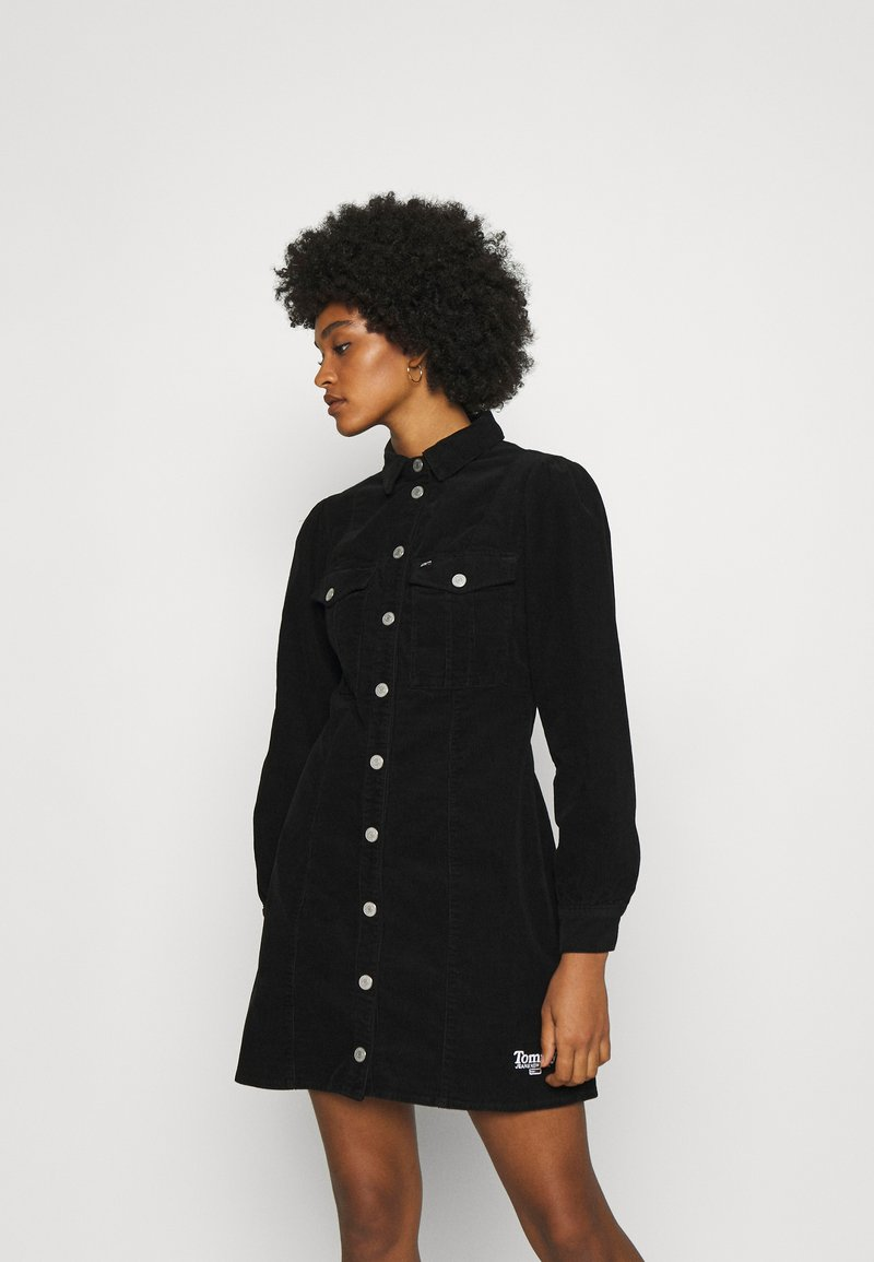 Tommy Jeans - FITTED DRESS - Shirt dress - black