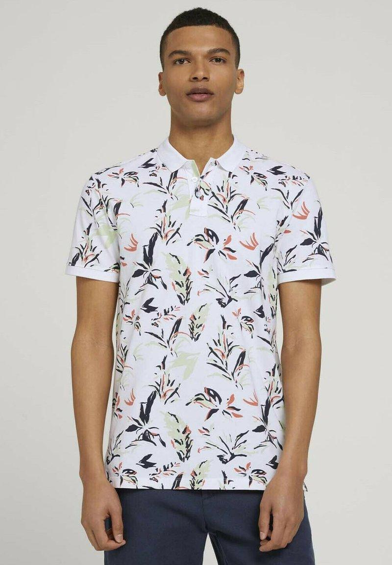 TOM TAILOR DENIM - Polo shirt - white abstract flower print