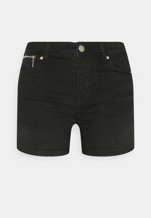 ONLISA LIFE ZIP - Denim shorts - black denim