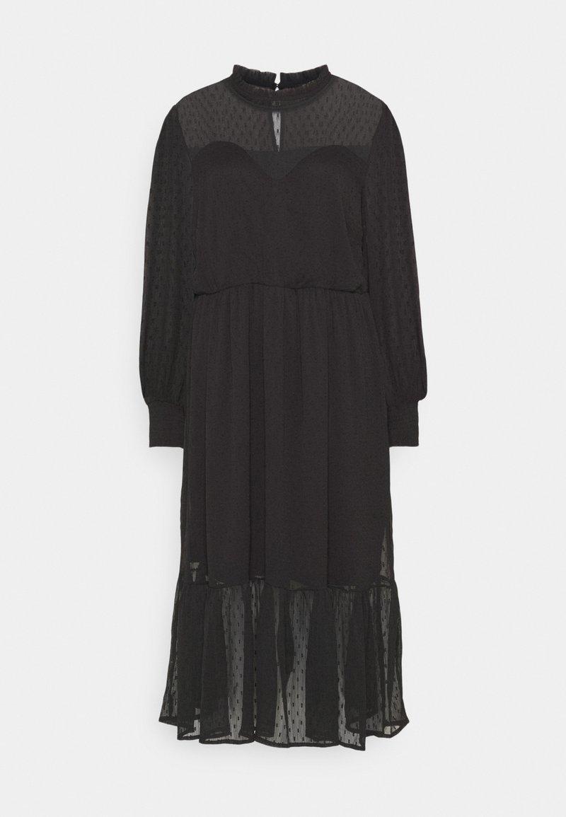 Simply Be - DOBBY SPOT TIERED MIDI DRESS - Denní šaty - black