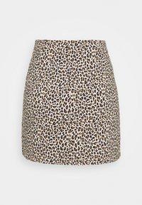 Topshop Petite - MINI LEOPARD BENGALINE - Mini skirt - brown - 1