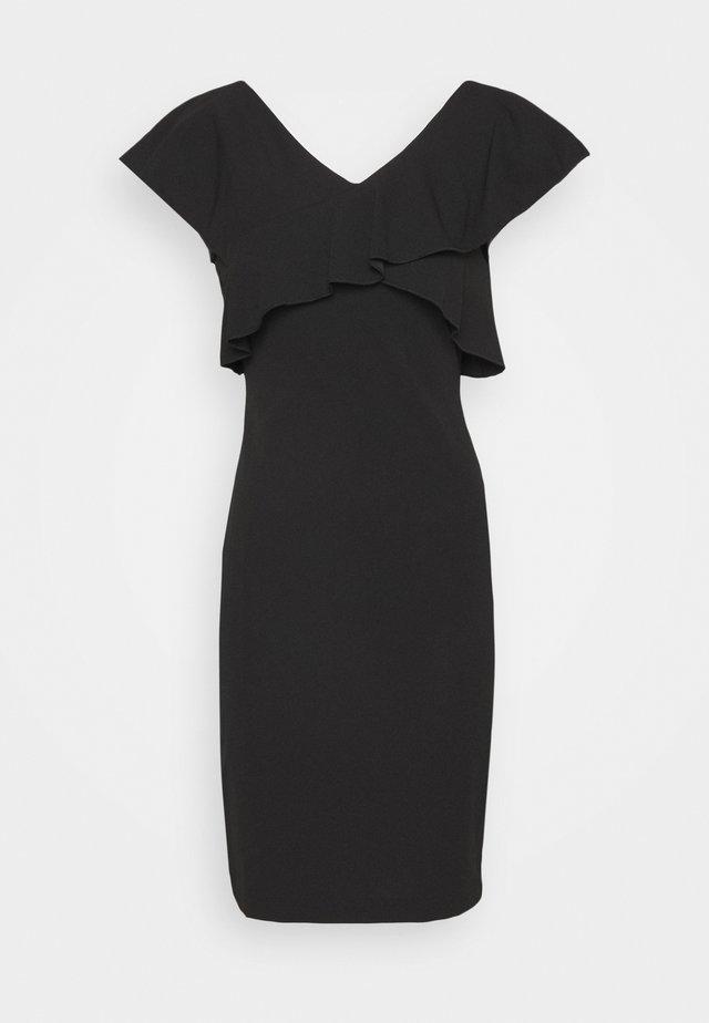 CRISS CROSS RUFFLE SHEATH - Korte jurk - black/ivory