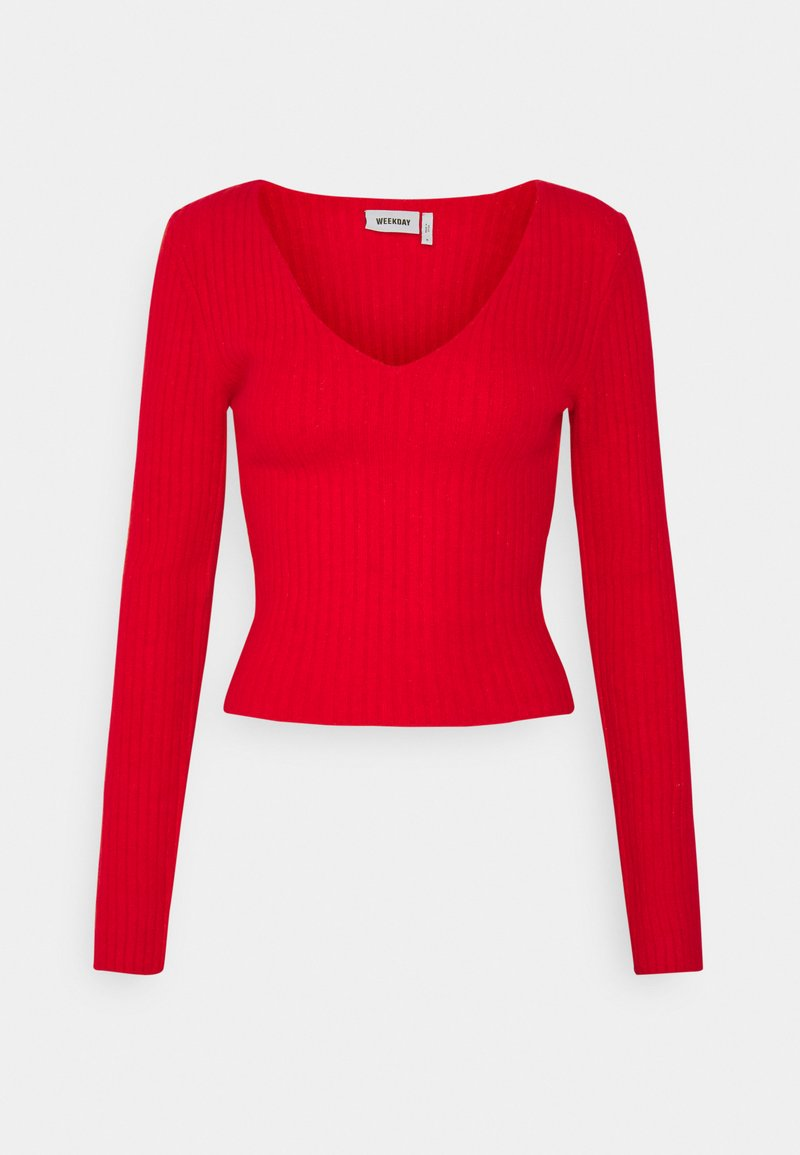 Weekday - PAOLINA V NECK - Pullover - red
