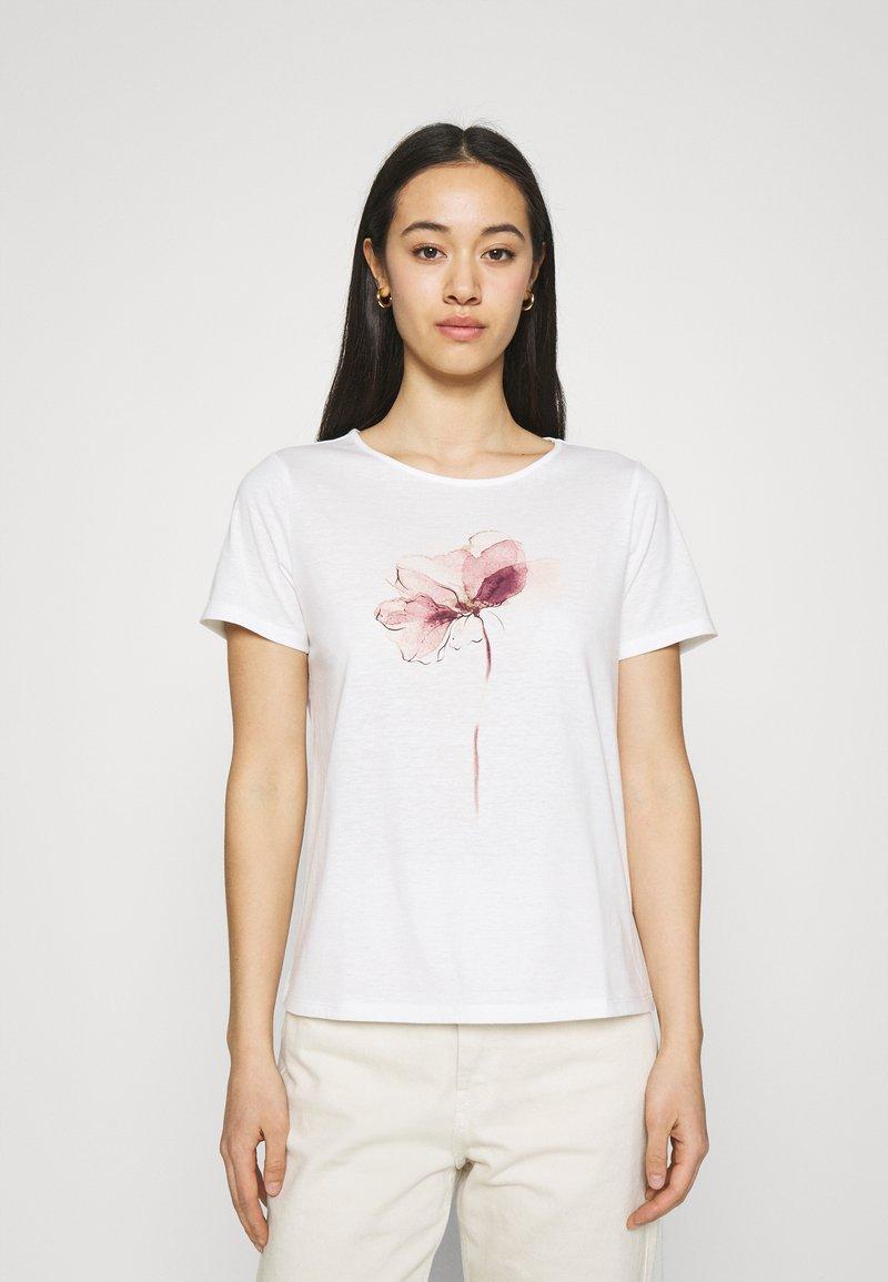 Vila - VILINNEA FLOWER - Print T-shirt - cloud dancer